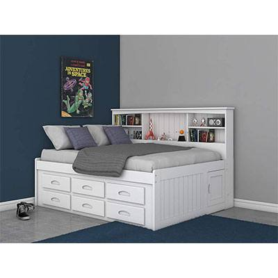 2. Discovery World Furniture White 6 Drawers Bookcase Daybed - Full