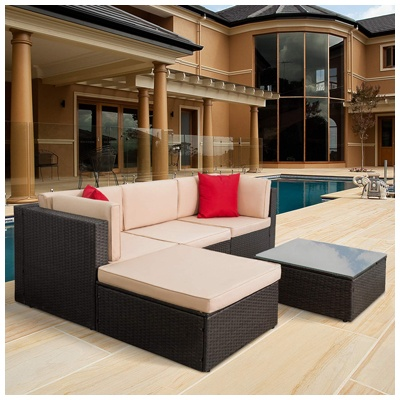10. Tuoze 5 Pieces Patio Furniture Sectional Set Outdoor All-Weather