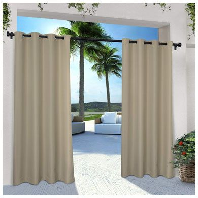 2. Exclusive Home Curtains Indoor/Outdoor Solid Cabana Grommet Top Curtain Panel Pair