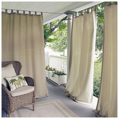4. Elrene Home Fashions Matine Indoor/Outdoor Solid Tab Top Single Panel Window Curtain Drape