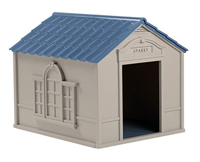 Suncast Outdoor Dog House with Door - Water Resistant Dog House