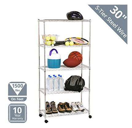 Seville Classics Silver Wire 5-Tier Steel Chrome Shelving Baker's Rack with Wheels