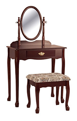 Crown Mark Cherry Makeup Vanity Table and Chair