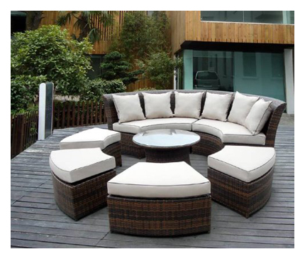Genuine Ohana Outdoor Patio Wicker Furniture - Curved Outdoor Sofas