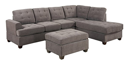 Casa Andrea Milano 3pc Modern Reversible Grey Charcoal Sectional Sofa Couch