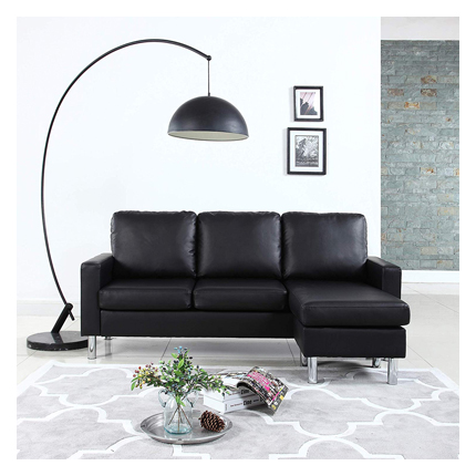 Modern Bonded Leather Sectional Sofa - Small Space Configurable Couch -