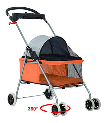 BestPet 4-Wheel Dog Folding Stroller Waterproof Fabric