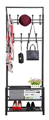 Yaheetech Shoe Rack Hall Tree Black Metal Entryway Umbrella 3-Tier Stand