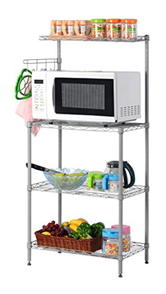 LANGRIA 3-Tier Baker's Storage Rack Microwave Stand Silver Grey Organizer