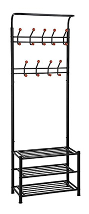 SONGMICS Entryway Storage Shoe Coat Rack 3-Tier Shelves Rack Metal Black Hall Tree