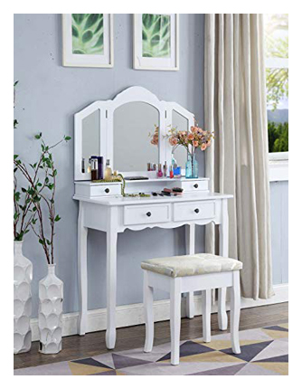Roundhill Furniture Wooden Vanity Set of Stool and Table