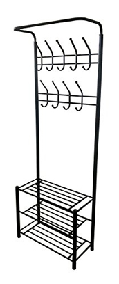 eHomeProducts Black Metal 3-Tier Entryway Storage Coat Hat Shoe Hall Tree Rack