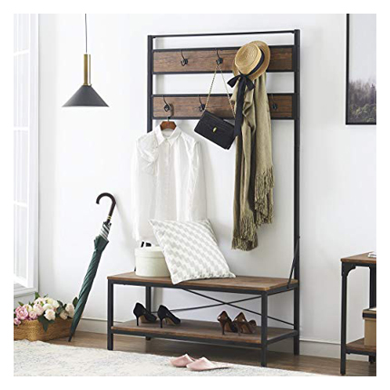 O&K Furniture Entryway Shoe Barn-Wood Finish Hall Tree Rack Bench