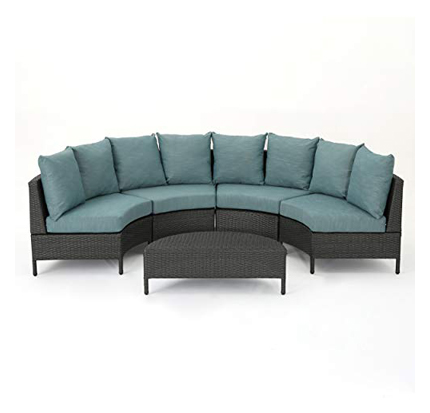 Nessett Outdoor 4 Seater Curved Wicker Sectional Sofa Set