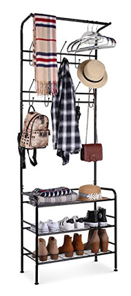 Homfa Metal Shoe Entryway Coat Rack 3-Tier Bench Hall Tree