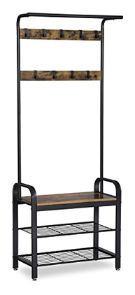 VASAGLE Industrial Shoe Coat Rack Wood Metal Frame Accent Furniture Hall Tree