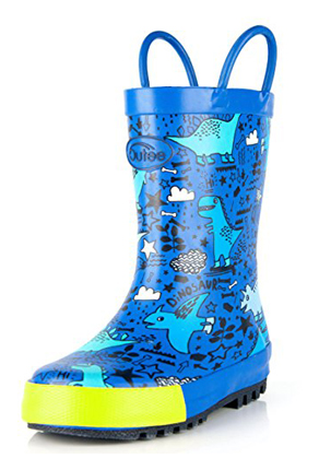 Outee Rubber Rain Boots for Kids and Toddlers Easy-On Handles