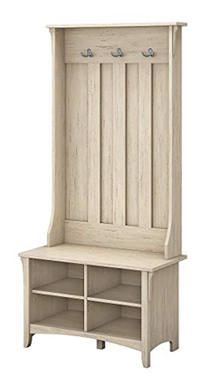 Bush Furniture White Salinas Antique Hall Storage Bench Tree
