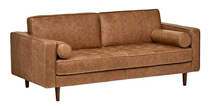 Rivet Aiden Tufted Mid-Century Modern Leather Bench Sectional Couch Sofa,
