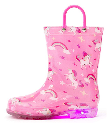 Outee Adorable Toddler Printed Rain Boots Light Up