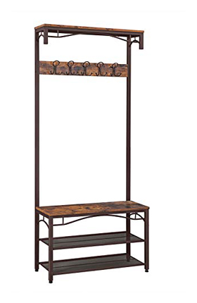 VASAGLE Industrial 3-in-1 Hall Tree Coat Rack Accent Furniture Large Metal Frame