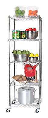 Seville Classics 5-Tier Ultra Durable Commercial-Grade Steel Wire Baker's Rack with Wheels