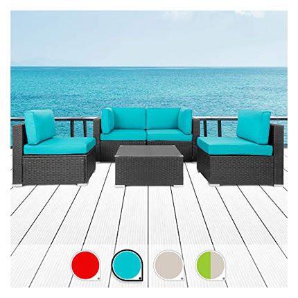 Walsunny 5pcs Patio Outdoor Furniture Sets - Curved Outdoor Sofas
