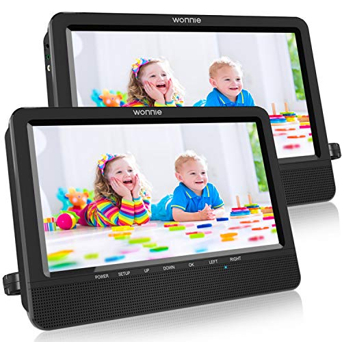 WONNIE 10.5 Portable Dual DVD Players with Two Mounting Brackets Stereo Sound