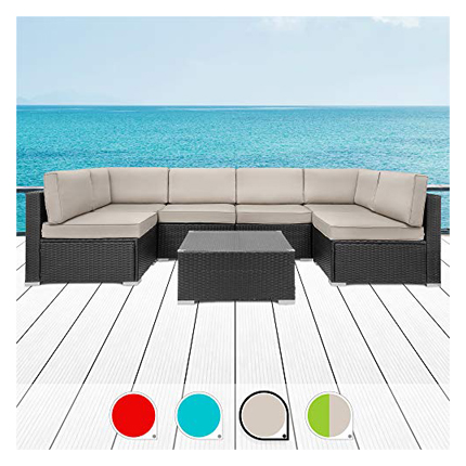 Walsunny 7pcs Patio Outdoor Furniture Sets - Curved Outdoor Sofas