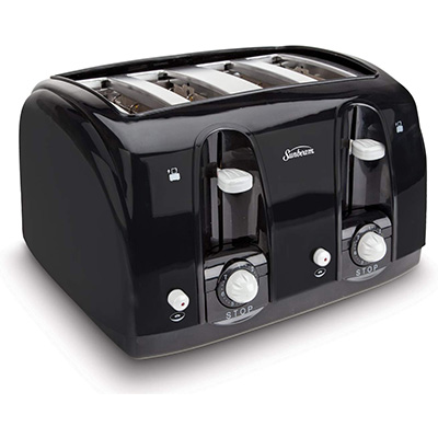 2. Sunbeam 003911-100-000 Wide Slot 4-Slice Toaster
