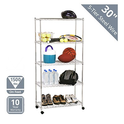7. Seville Classics Steel Shelving with Wheels (5-Tier)