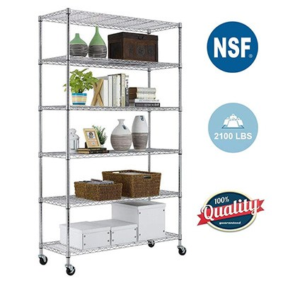 4. PayLessHere 6 Tier Wire Shelving Unit with wheels