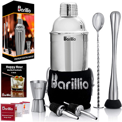 3. Barillio Elite Cocktail Shaker Set