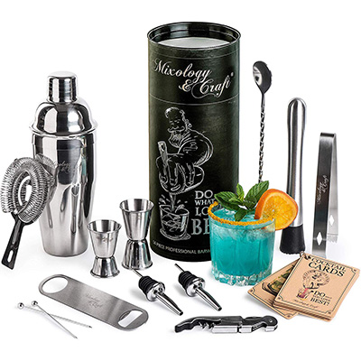 4. Mixology & Craft 14-Piece Bartender Kit