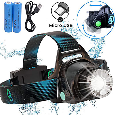 3. Rechargeable Headlamp by QS