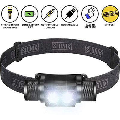 9. SLONIK 1000 Lumen Rechargeable 2x CREE LED Headlamp