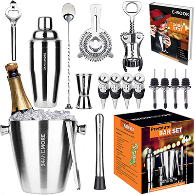 9. 34andMore 17-Pieces Bartender Kit