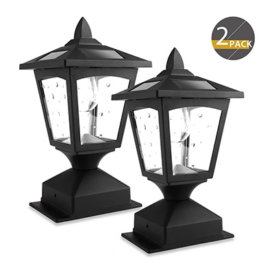 9. Greluna Solar Post Lights Outdoor, Pack of 2