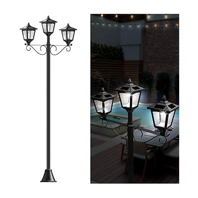 "6. Greluna 72"" Triple-Head Solar Lamp Post Lights"