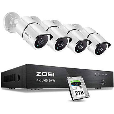 10. ZOSI 4K 265+ 4K (3840x2160) Ultra HD Security Cameras System,