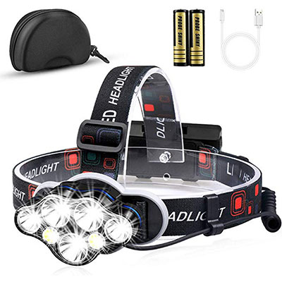 8. 12000 High Lumens Ultra Bright 7 LED Headlamp by KeShi
