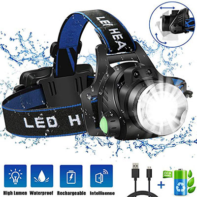6. USB Rechargeable LED Headlamp by JLANG