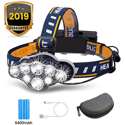 4. OUTERDO 8 LED Rechargeable Headlamp