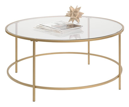 Sauder 417830 Int Lux Round Glass Coffee Table