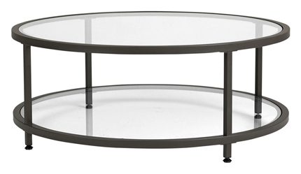 Studio Designs Home Round Camber Glass Table Pewter Clear Glass