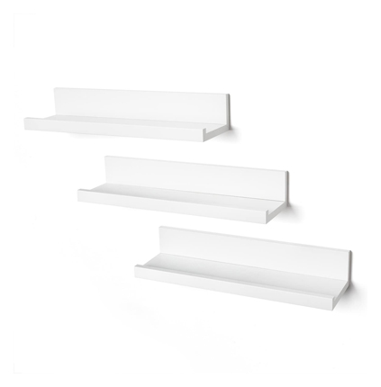 "Americanflat Set 3 14"" Floating Shelves Wall White"