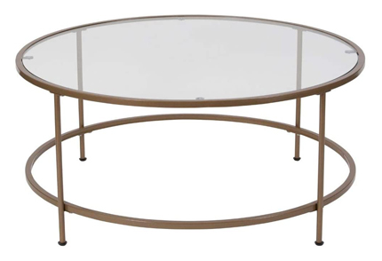 Flash Furniture Coffee Table Glass Matte-Gold Frame