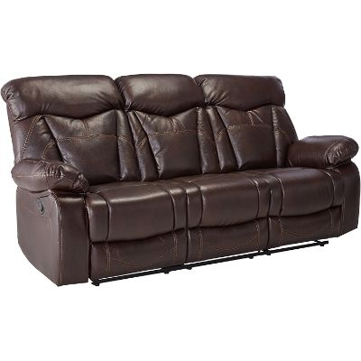 3. Coaster Home Furnishings Zimmerman Motion Sofa with Pillow Arms, Dark Brown