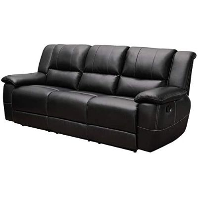 2. BOWERY HILL Leather Reclining Sofa with Pillow Arms, Black