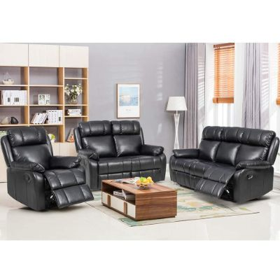 4. FDW Recliner Furniture Leather Sofa (Black)
